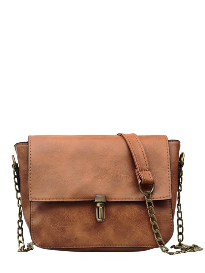 Buckle Detail Flap Shoulder Bag