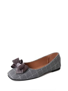 Bow Decor Plaid Ballet Flats