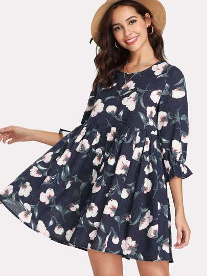 Floral Print Flounce Sleeve Smock Dress