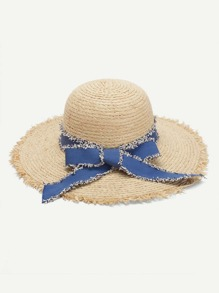 Bow Tie Frayed Trim Straw Hat