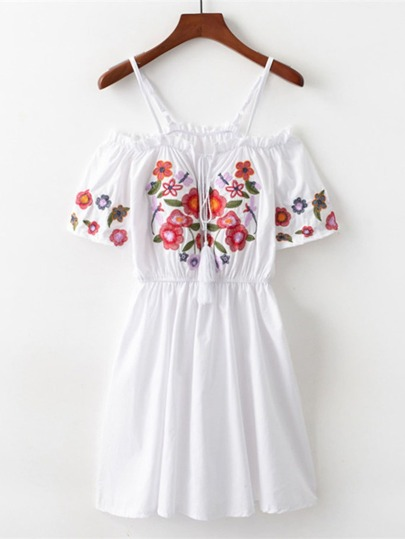 Open Shoulder Embroidered Dress