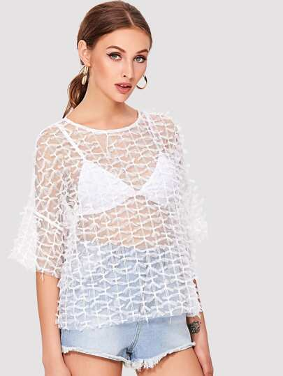 Allover Knot Detail Mesh Top