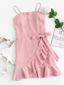 Ruffle Hem Knot Side Cami Dress