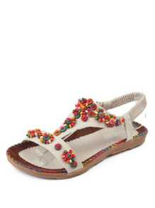 Beaded Decorated Flat Sandals
