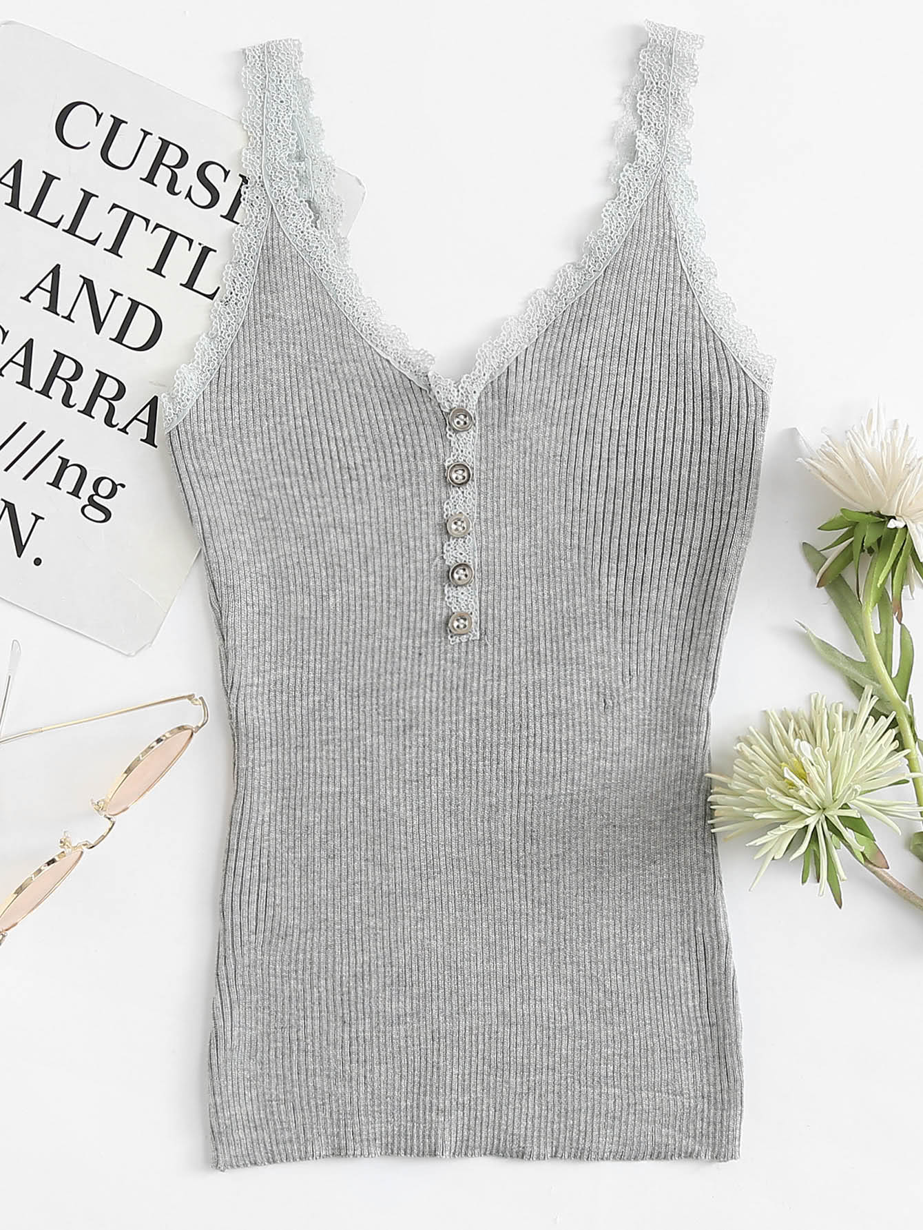 Lace Trim Single Breasted Ribbed Top