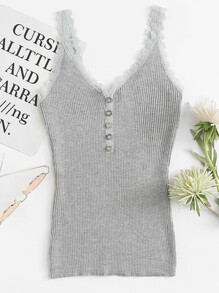 Lace Trim Single Breasted Ribbed Top ROMWE