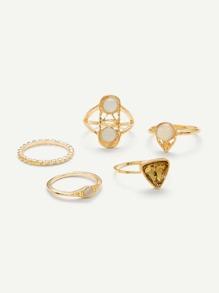 Triangle & Round Design Ring Set 5Pcs