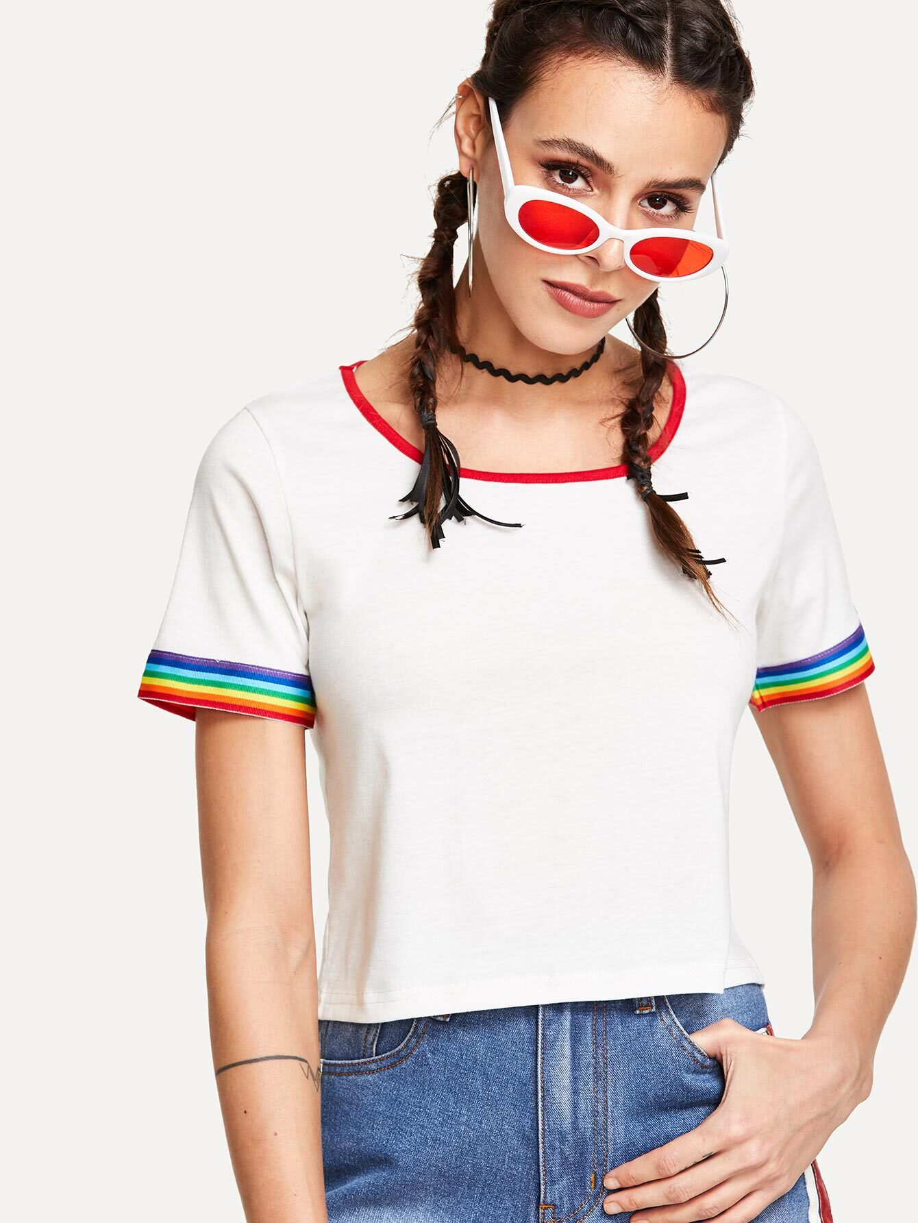 Contrast Rainbow Striped Trim Tee contrast trim ribbed tee with striped shorts