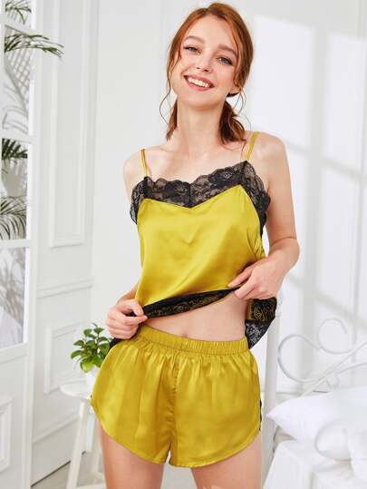 Lace Insert Satin Cami Top And Shorts PJ Set