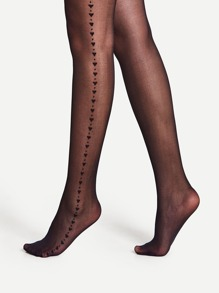 Heart Pattern Side Pantyhose Stockings