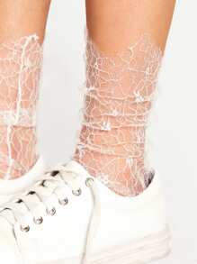 Hollow Design Slouch Lace Ankle Socks