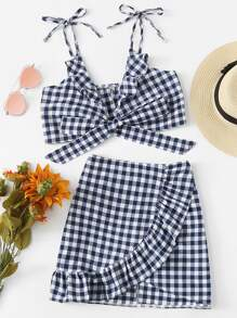 Knot Front Checked Cami With Skirt