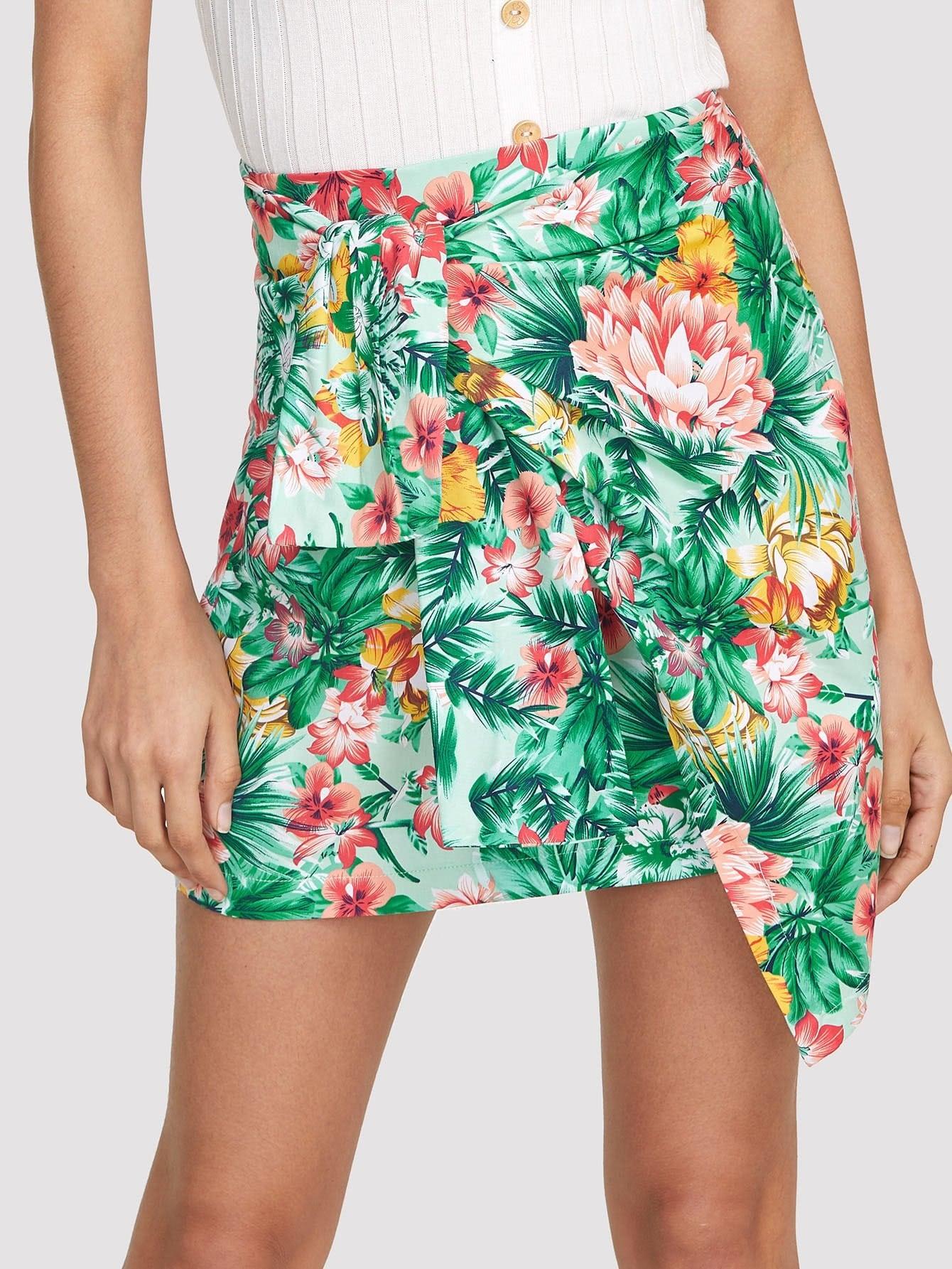 Tropical Print Asymmetric Wrap Skirt poems короткое платье