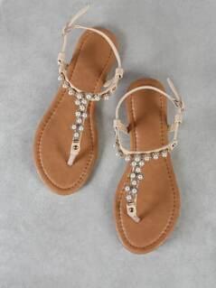 Rhinestone and Pearl Embellished T-Strap Sandal BEIGE