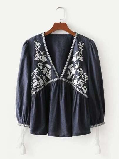 Tassel Tie Detail Embroidery Blouse