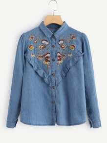 Botanical Embroidered Ruffle Denim Shirt