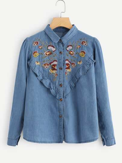 Botanical Embroidered Ruffle Denim Shirt