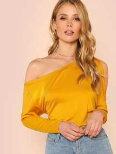 Wide Hem Asymmetric Shoulder Tee