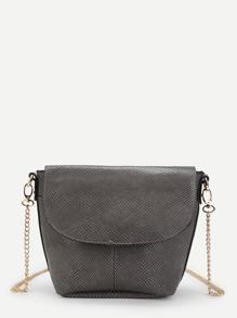 Snakeskin Print Crossbody Chain Bag