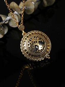 Hollow Round Pendant Chain Necklace