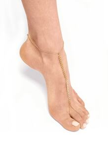 Arrow Detail Chain Anklet With Toe Ring