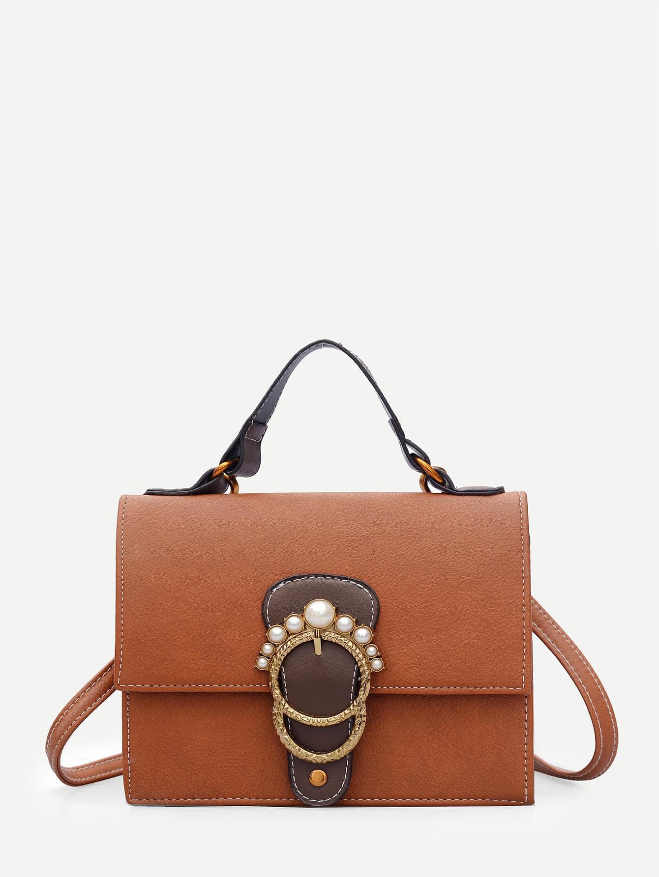 Faux Pearl Decor Flap Shoulder Bag
