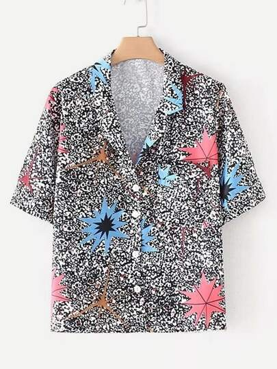 Revere Collar Printed Shirt