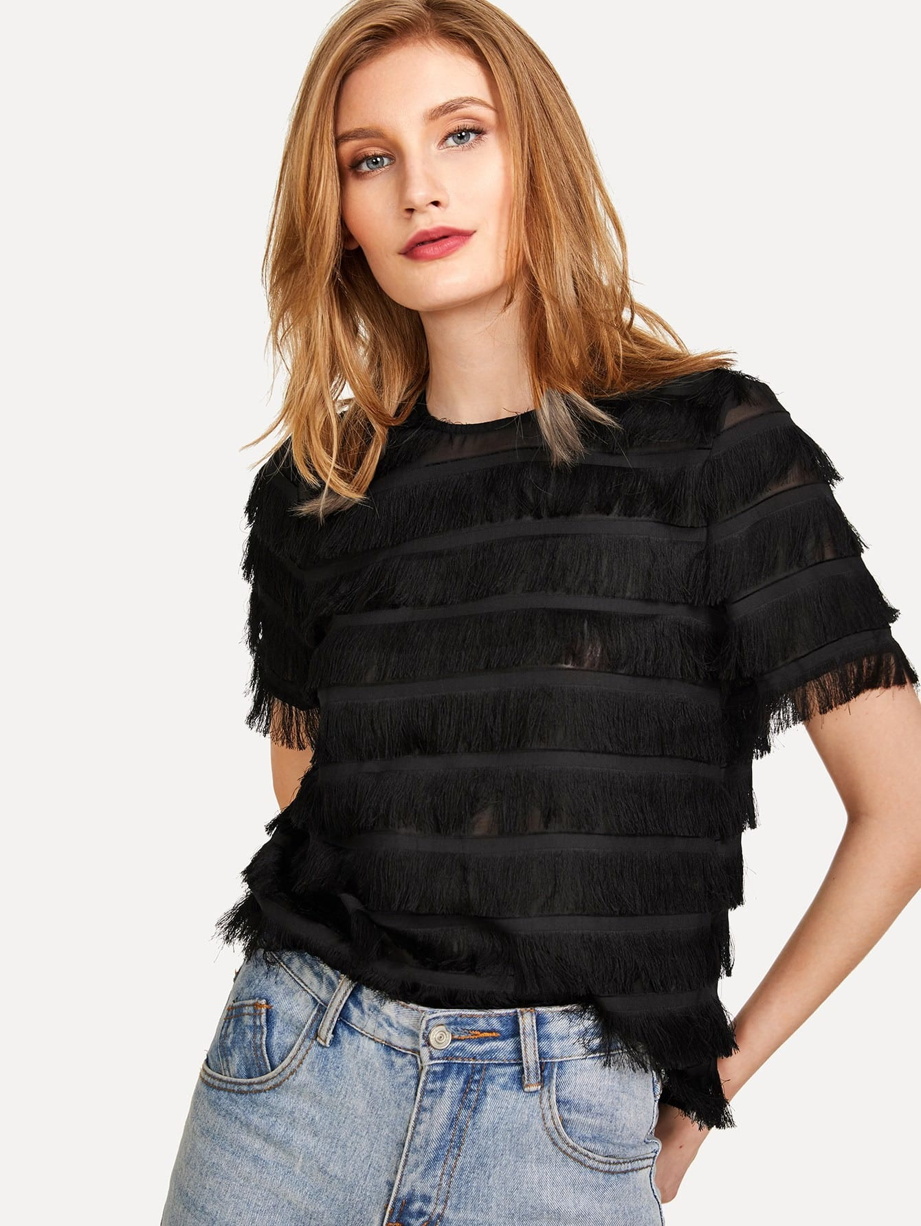 Layered Fringe Detail Keyhole Back Top layered fringe detail keyhole back top