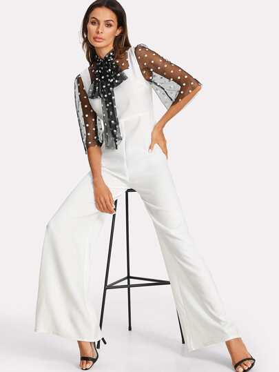 Tie Neck Polka Dot Mesh Panel Jumpsuit