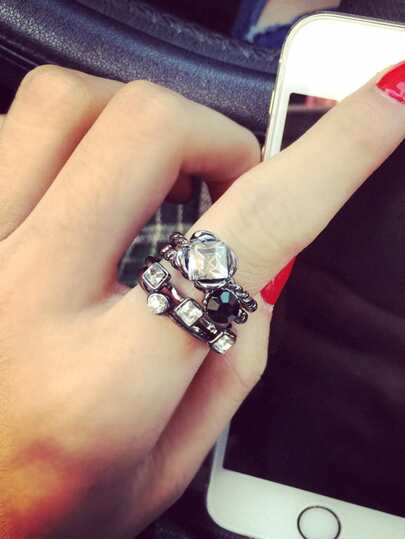 Geometric Design Ring Set 4Pcs With Rhinestone