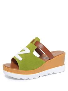 Letter Decorated Platform Sandals