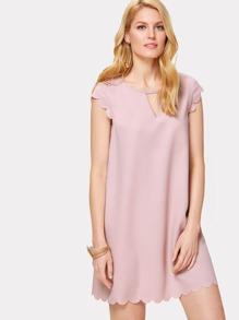 Scallop Trim V Cut Neck Dress