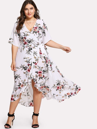 Asymmetric Ruffle Hem Botanical Wrap Dress