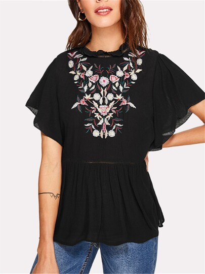Botanical Embroidered Ruffle Trim Smock Top
