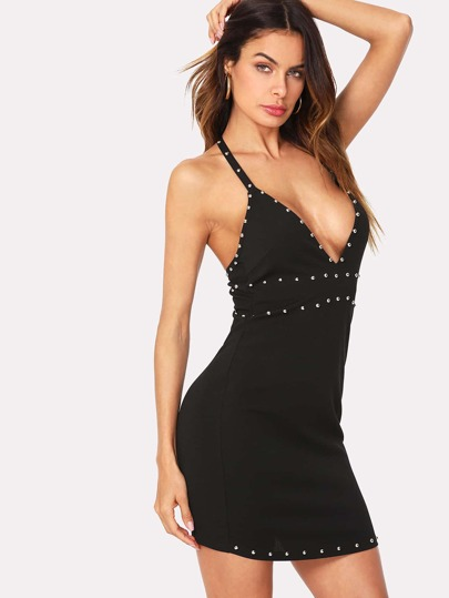 Plunging Neck Beaded Trim Form Fitting Cami Dress
