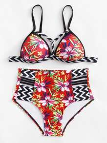 Flower Print Chevron Bikini Set