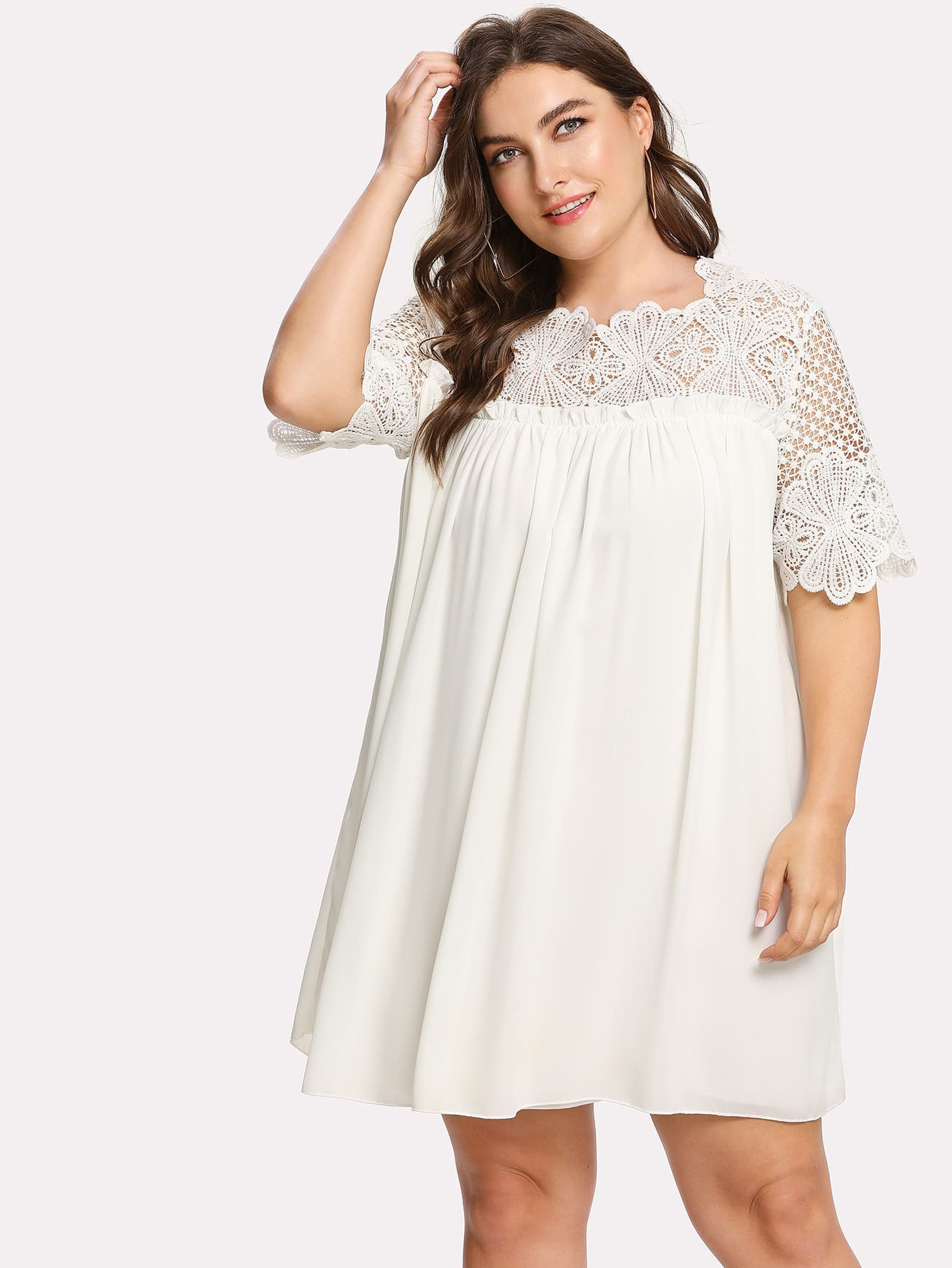 Lace Crochet Frill Detail Smock Dress frill detail crochet insert embroidered mesh top