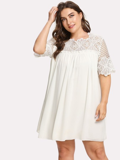Lace Crochet Frill Detail Smock Dress