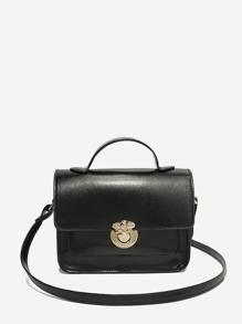 PU Flap Shoulder Bag With Strap