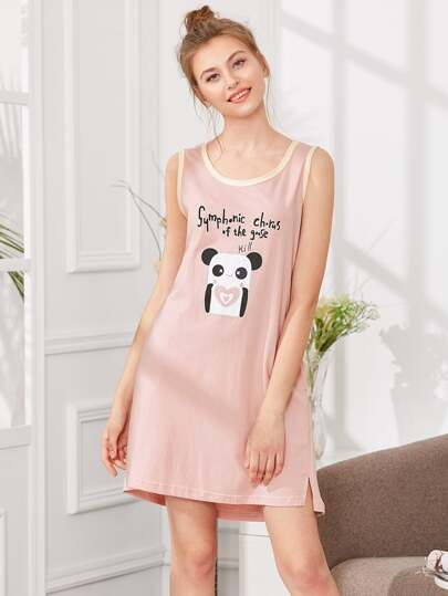 Contrast Trim Panda Print Dress