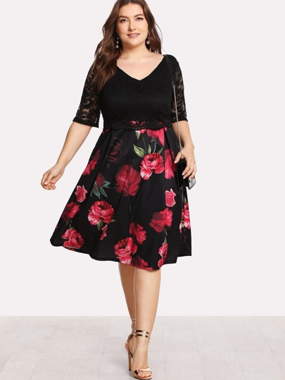 Contrast Lace Rose Print Dress