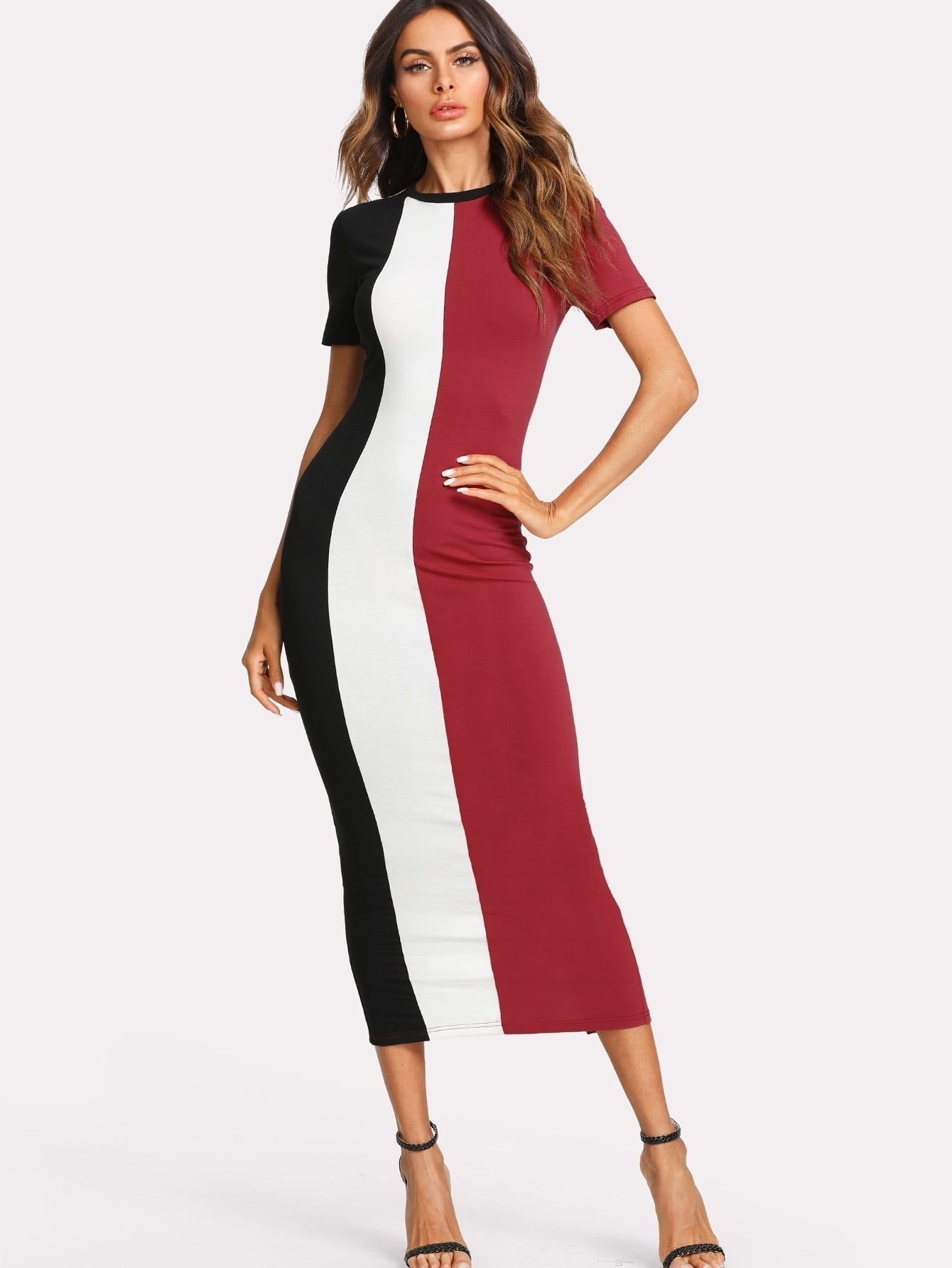 Cut And Sew Slit Back Fitted Dress cut and sew zip back pencil dress