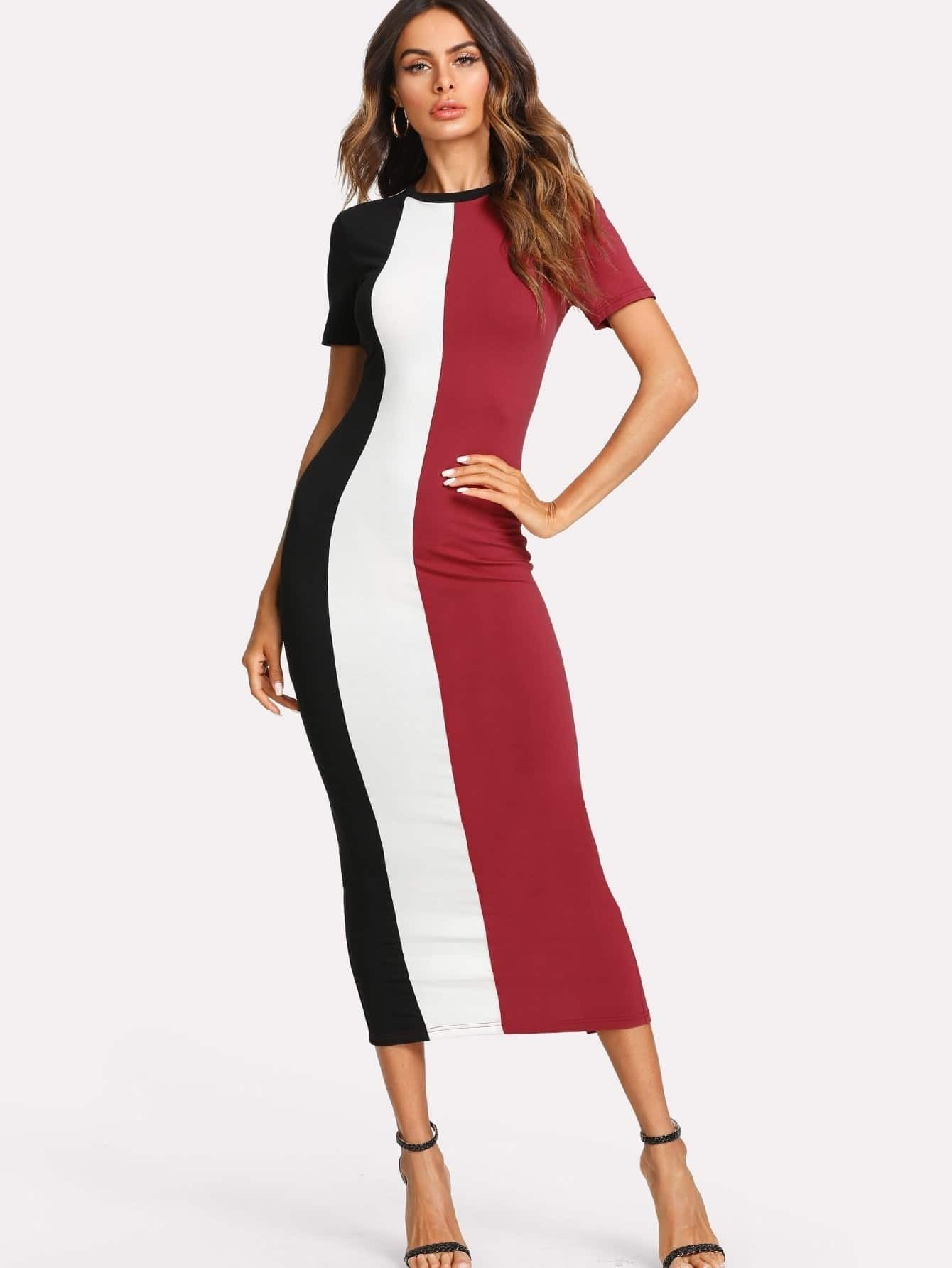 Cut And Sew Slit Back Fitted Dress crisscross slit back fitted cami dress