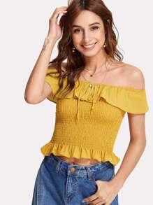 Ruffle Trim Shirred Bardot Top