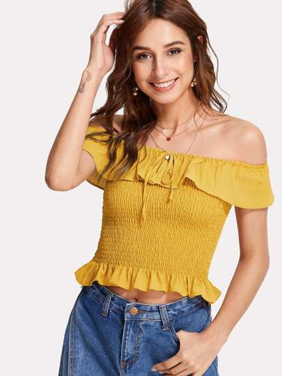 Ruffle Trim Shirred Bardot Top