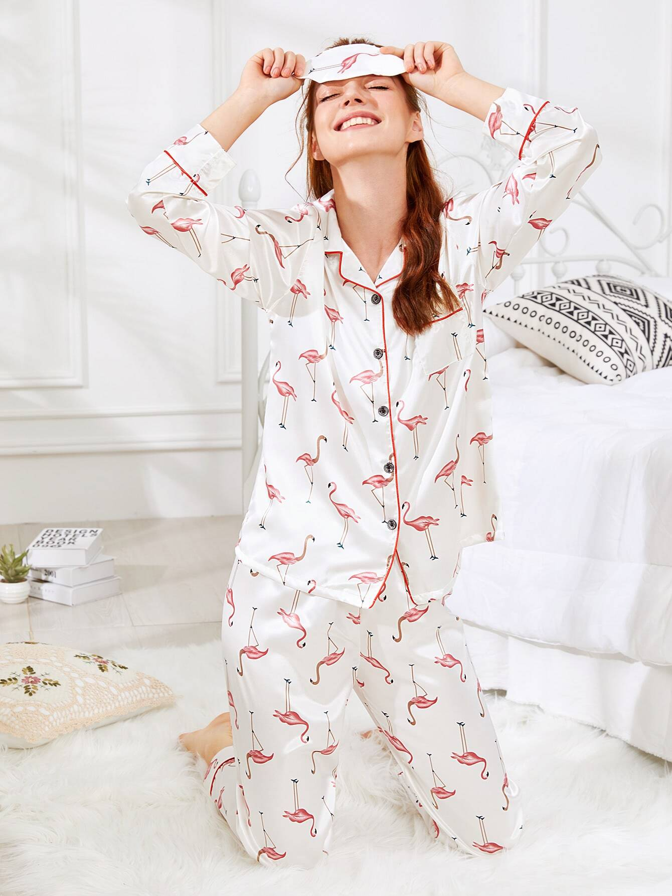 Contrast Binding Flamingo Print Pajama Set With Eye Mask цена и фото