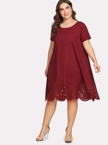 Scallop Laser Cut Tunic Dress