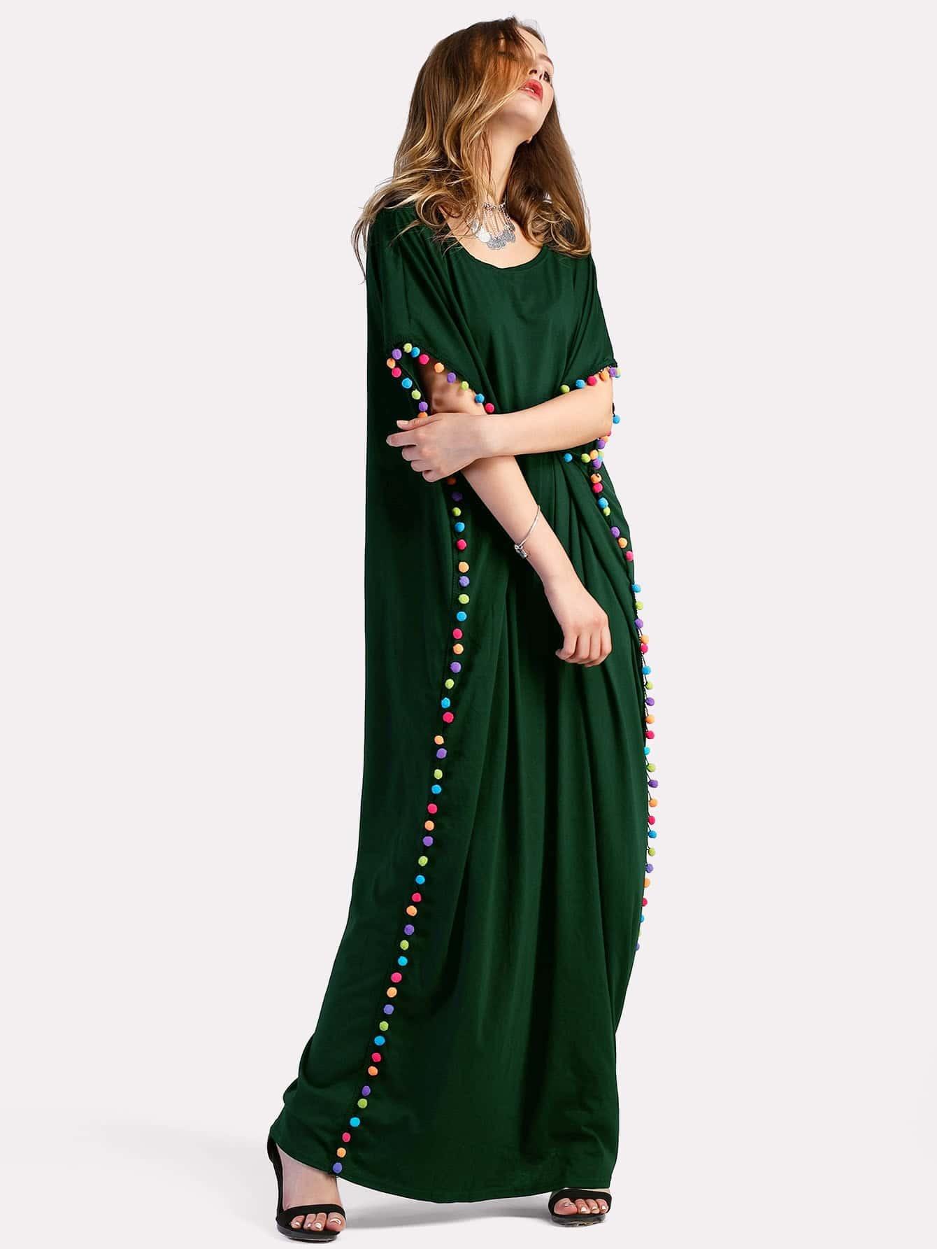 Pom Pom Trim Full Length Kaftan Dress pom pom trim knit cushion cover