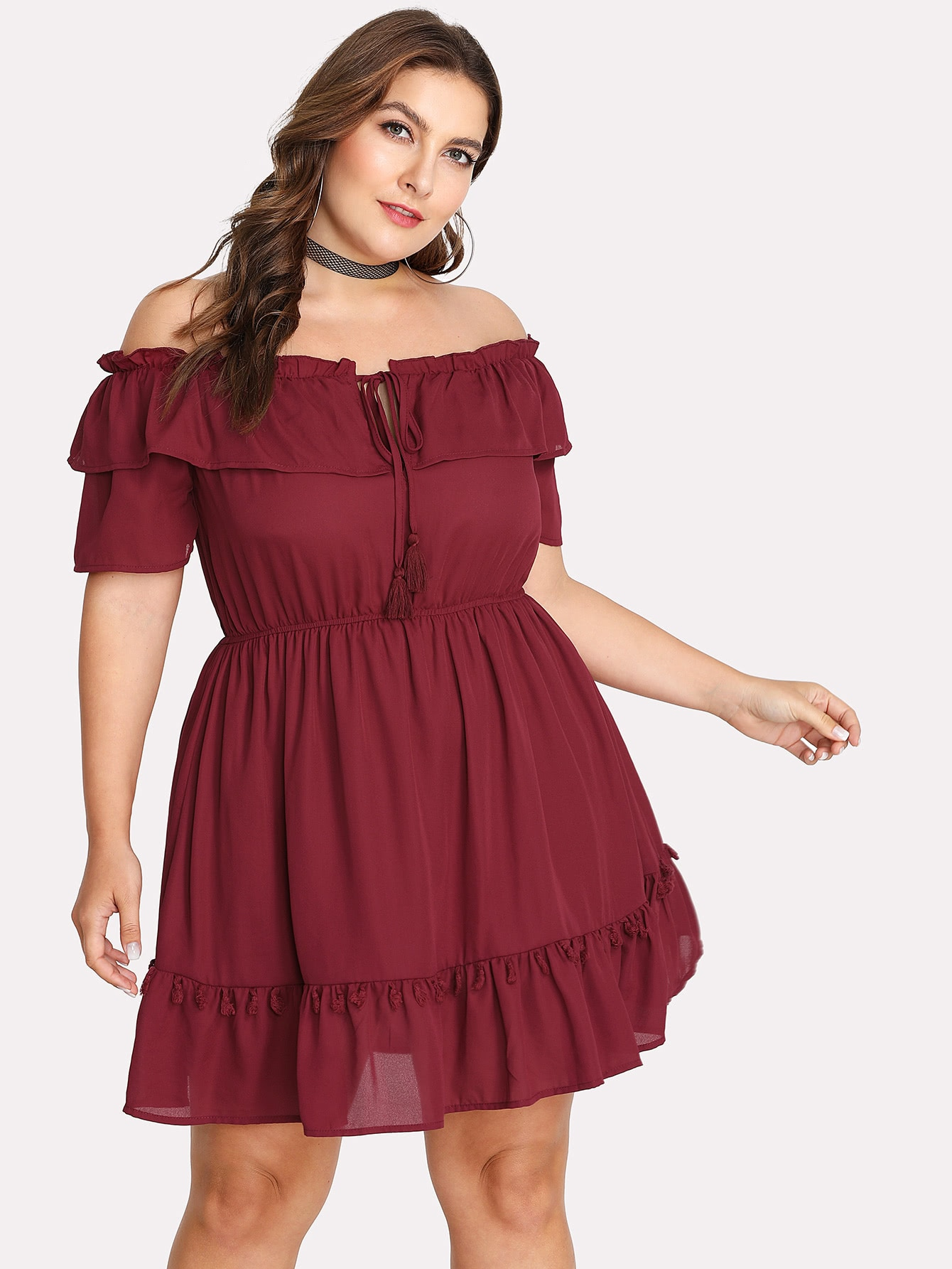Plus Tassel Detail Ruffle Hem Tied Bardot Dress wrap front tied v back ruffle hem dress