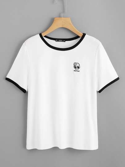 Graphic Embroidery Ringer Tee
